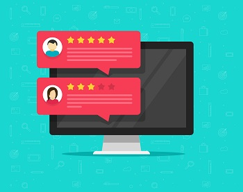 Computer and customer review rating messages vector illustration, flat desktop pc display with online reviews or client testimonials, concept of experience or feedback, rating stars, survey comments, local movers